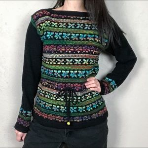 Vintage 1980s Multicolored Belted Sweater